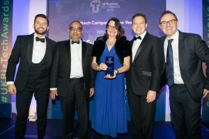 Members of the Mindful team with the EdTech Company of the Year award